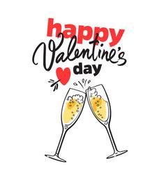 Happy valentine s day card with handwritten vector