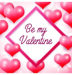 Happy Valentines day with pink square frame vector