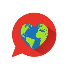 Heart world globe concept vector
