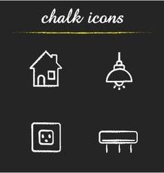 Home interior chalk icons set vector