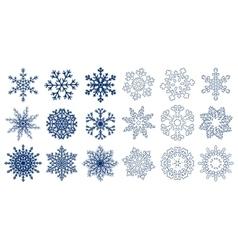 Huge set of blue snowflakes vector image