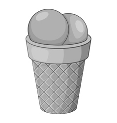 Ice cream icon gray monochrome style vector