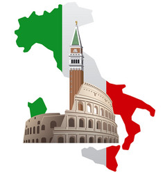 Italy with map vector