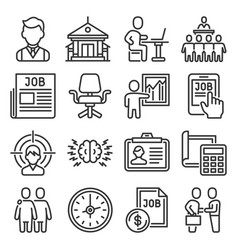 job and headhunting icons set on white background vector image