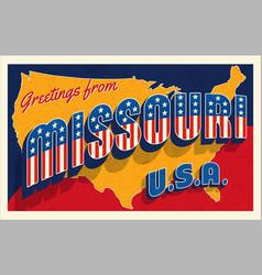 july 4th missouri usa retro travel postcard vector image
