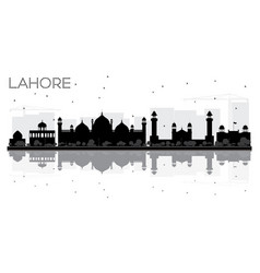 lahore city skyline black and white silhouette vector image