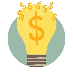 Light bulb with money coin Modern Flat design vector image