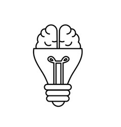 Line bulb with brain to creative idea vector