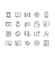 line video content icons vector image