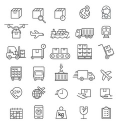 logistics cargo delivery line icons set vector image