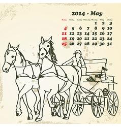 May 2014 hand drawn horse calendar vector image
