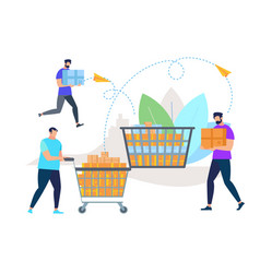 men in casual clothes pushing trolley with boxes vector image