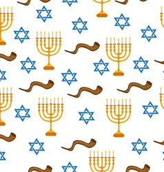 Menorah Shofar and Star of David seamless pattern vector
