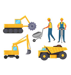 Mining industry vehicles like lorry and bulldozer vector