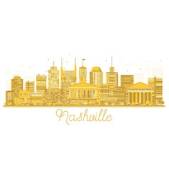 nashville tennessee city skyline golden silhouette vector image