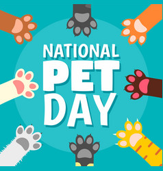 National pet day paw concept background flat vector