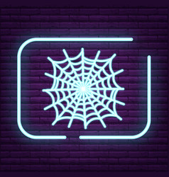 neon spider sign arachnid logo on the wall vector image