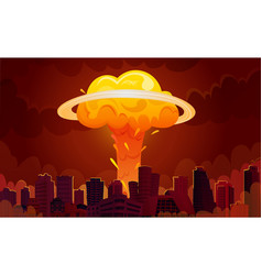 Nuclear explosion city cartoon poster vector