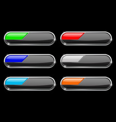 oval black buttons with colored tags vector image