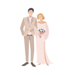 pair bride and groom standing together young vector image