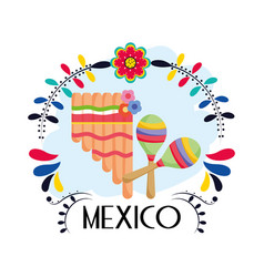 Pan flute and maracas flowers floral mexico vector