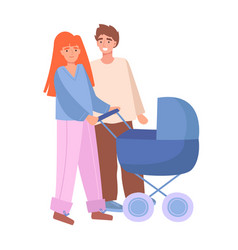 parents mother and father walking with stroller vector image