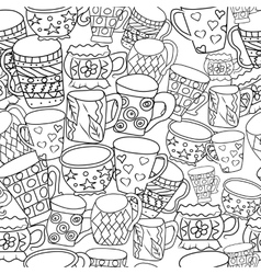 Pattern with cups and mugs Hand drawn zentangle vector image