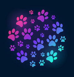Paw prints round bright and colored vector