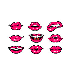 Pink red woman lips in pop art style vector