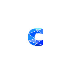 polygonal trend letter c logotype color vector image