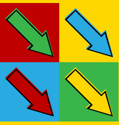 Pop art arrow icons vector