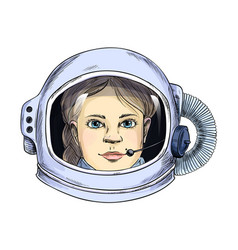 portrait young lady in space helmet vector image