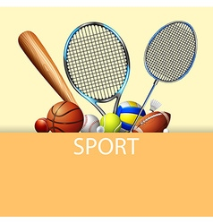 Poster design with sport equipments vector image
