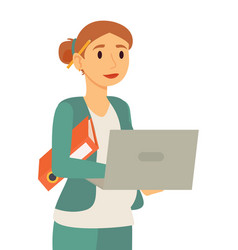 Pregnant businesslady working on laptop vector