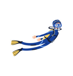 Professional scuba diver swimming underwater vector