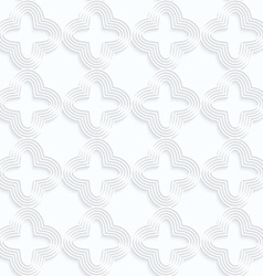 Quilling white paper striped rounded four foils in vector