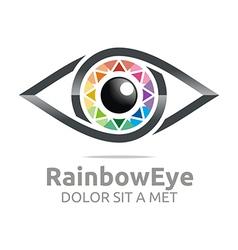 Rainbow eye circle eyeball symbol vector