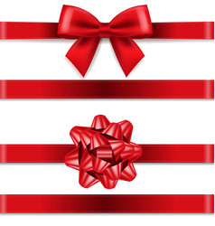red bows collection isolated white background vector image