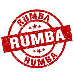 Rumba round red grunge stamp vector