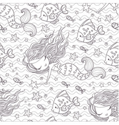seamless pattern with mermaids and fishes vector image