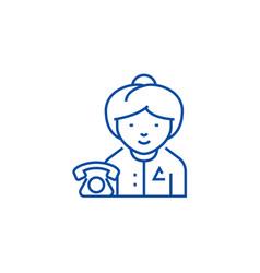 secretary line icon concept secretary flat vector image