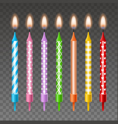 set isolated colorful birthday candles vector image