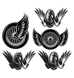 set monochrome pattern with wheel wings vector image