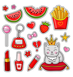 set of cute hand-drawn colorful stickers and pins vector image