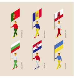 Set of isometric 3d people with flags of european vector