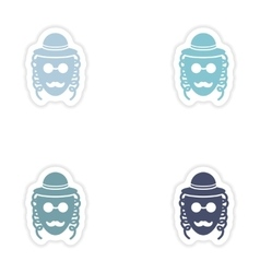 Set of paper stickers on white background jewish vector