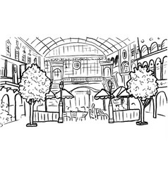 Shopping center and cafe vector