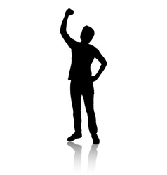Silhouette of a man who raised his hand vector