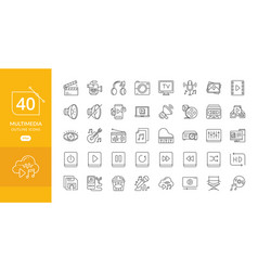 Simple set of multimedia related line icons vector