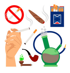 Smoking tobacco icons set vector
